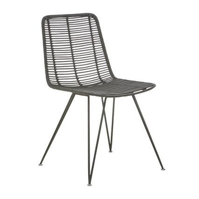 Plantation Bells Dining Chair in Black Rattan