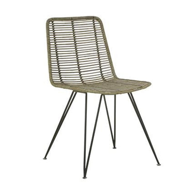 Plantation Bells Dining Chair in Greywash Rattan