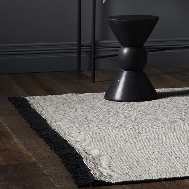 Raven Tassel Rug in Grey