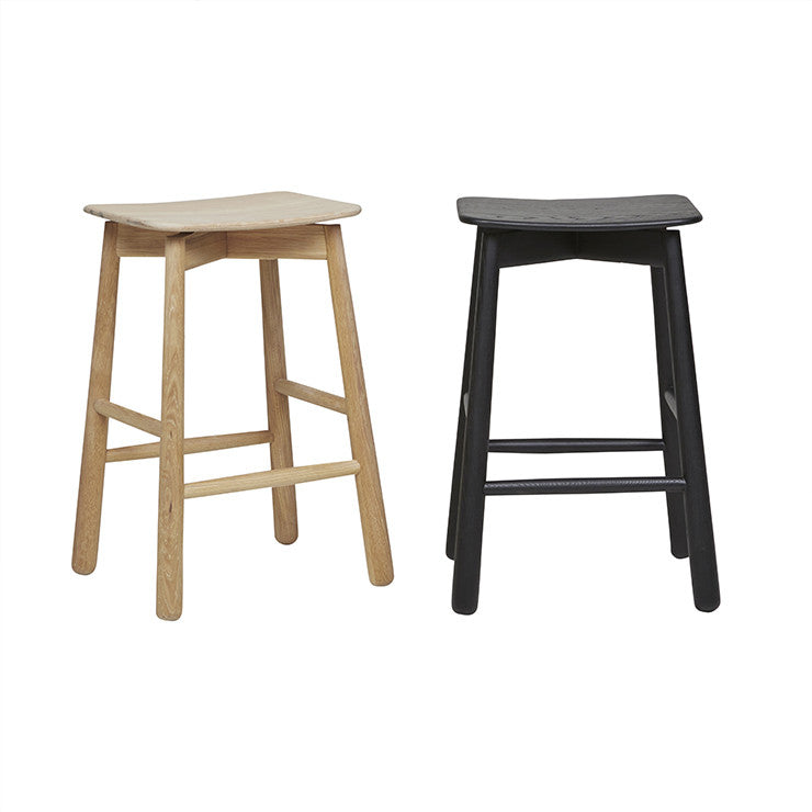 Root Barstool in Light Oak and Black Onyx