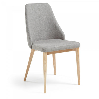 Roxie Quilted Dining Chair in Light Grey
