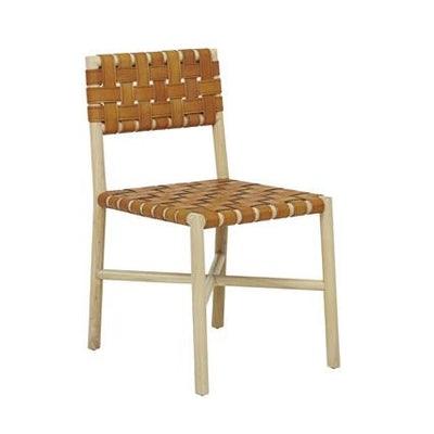 Seed Woven Leather Dining Chair in Terracotta