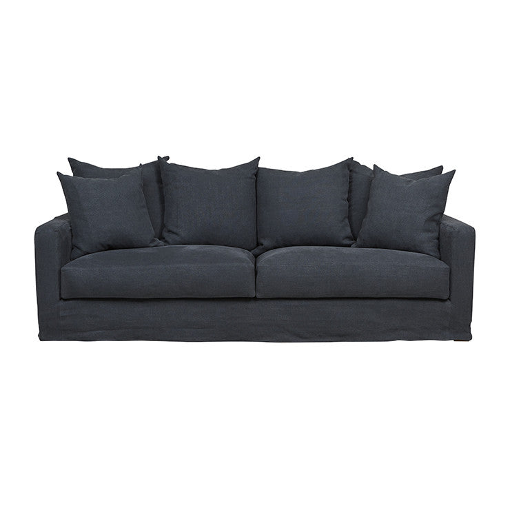 Sloopy 3 Seater Linen Sofa in Ink