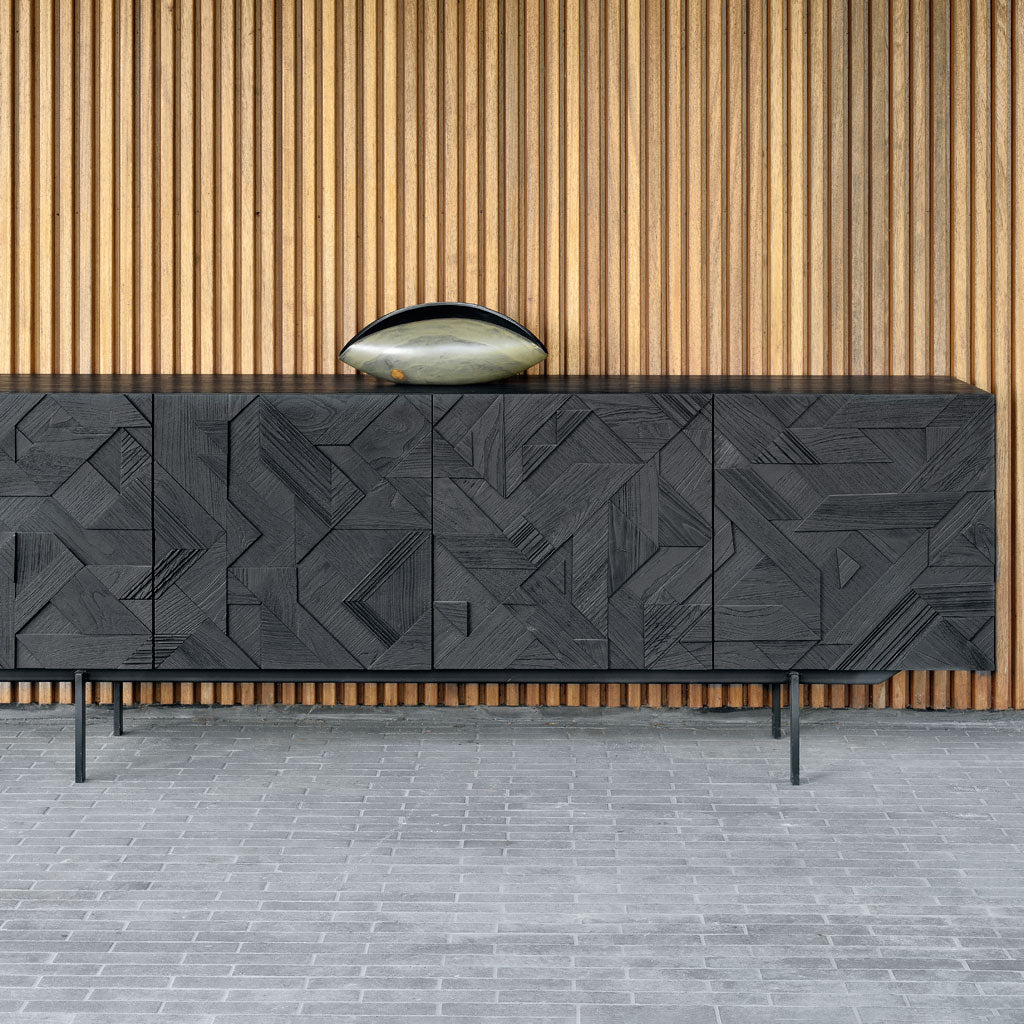 Teak Graphic Sideboard 4 Doors