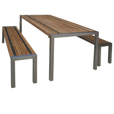 Teak Stripe III Outdoor Dining Bench
