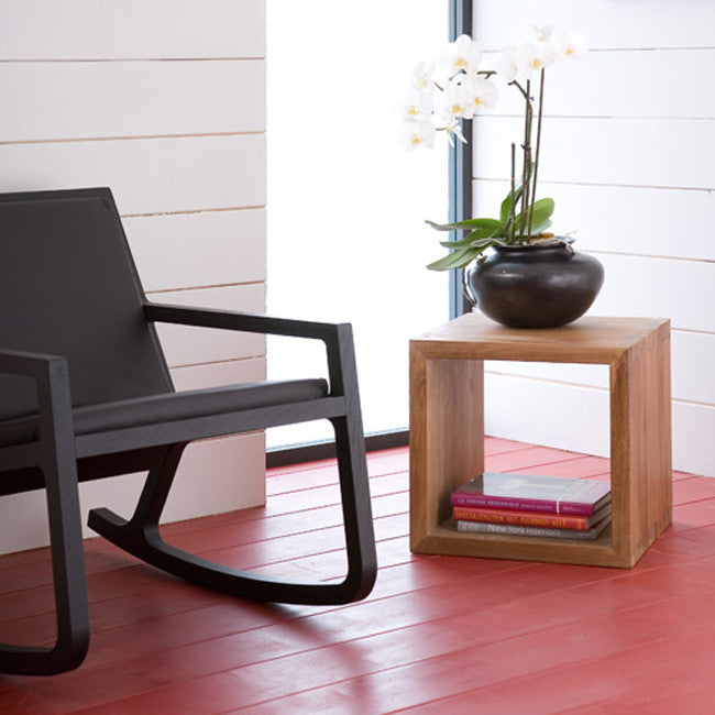 Teak Cube Closed Side Table
