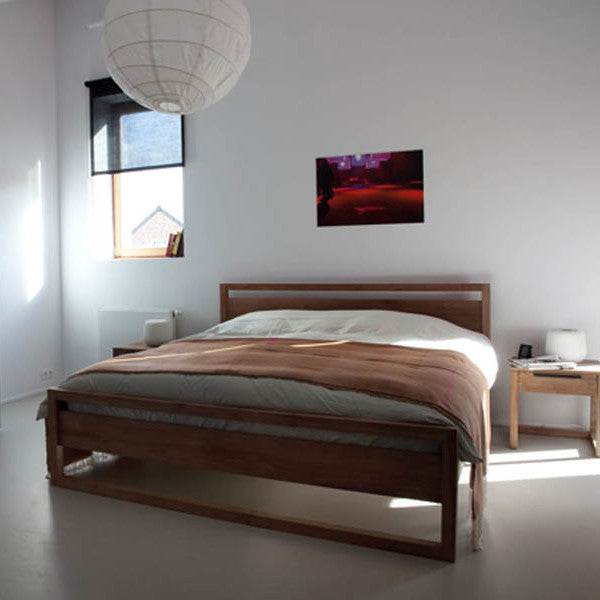 Teak Light Frame Bed - Queen Size