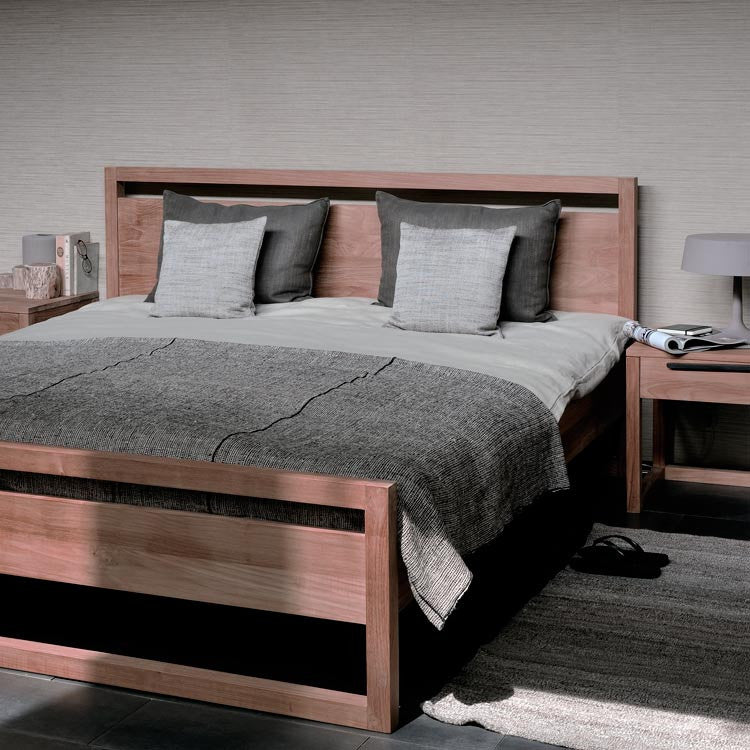 Teak Light Frame Bed - King Size