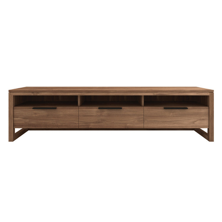 Teak Light Frame Entertainment Unit 3 Drawers