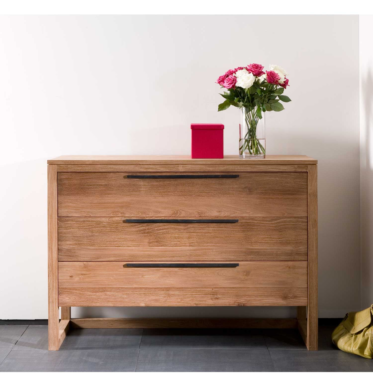 Teak Light Frame Chest of Drawers