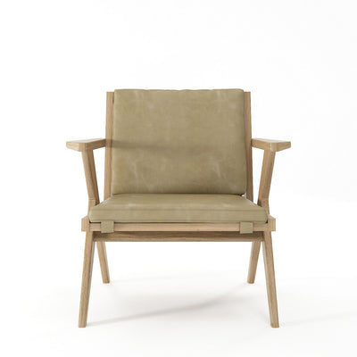 Karpenter Tribute Oak Easy Chair Safari Grey Leather
