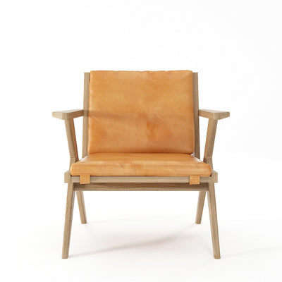 Karpenter Tribute Oak Easy Chair Tan Cognac Leather