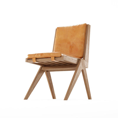 Karpenter Tribute Teak Chair Tan Cognac Leather