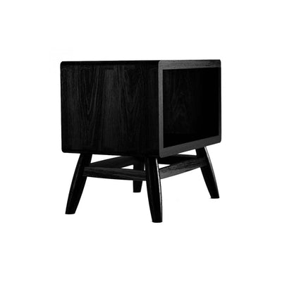 Karpenter Twist Bedside Table - Satin Black European Oak