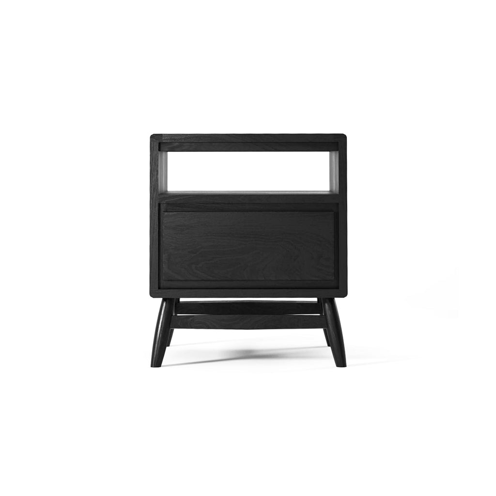 Karpenter Twist Bedside Table with Drawer - Black Satin European Oak