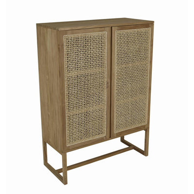 Willow Woven Storage Cupboard Natural Teak