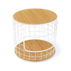 Wireframe Side Table in Natural Oak/White
