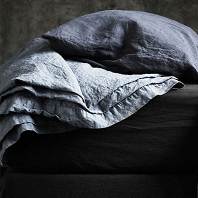 bedouin SOCIETE Minerale Vintage Wash Linen Pillow Case With Border