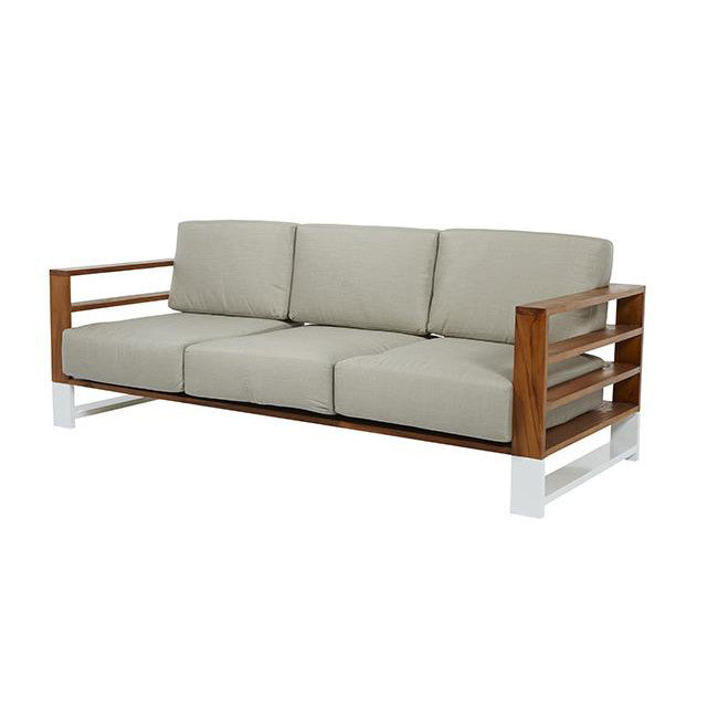Cancun Slat 3 Seater Sofa in Pale Grey