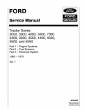 Ford 2000, 3000, 3400, 3500, 3550, 4000, 4400, 4500, 5000, 5500, 5550, and 7000 Tractor - COMPLETE Service Manual