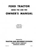 Ford 700, 740, 900, 950, and 960 Tractor Manual