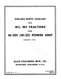 Allis-Chalmers WC, WF, W-201, and W-25 Tractors  - Parts Manual