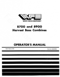 White 8700 and 8900 Combine Manual