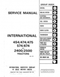 International 454, 474, 574, 674, 2400 and 2500 Tractor - Service Manual