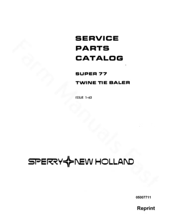 New Holland 77 Hay Baler - Parts Catalog