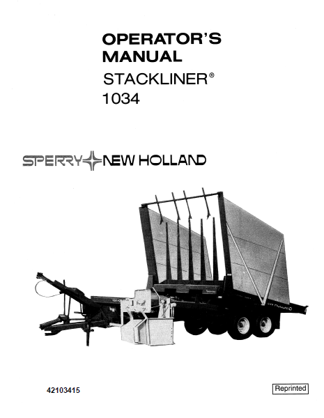 New Holland 1034 Stackliner Manual
