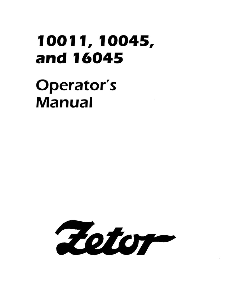 Zetor 10011, 10045, and 16045 Tractor Manual