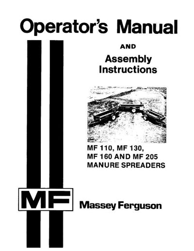 Massey Ferguson 110, 130, 160, and 205 Manure Spreader Manual
