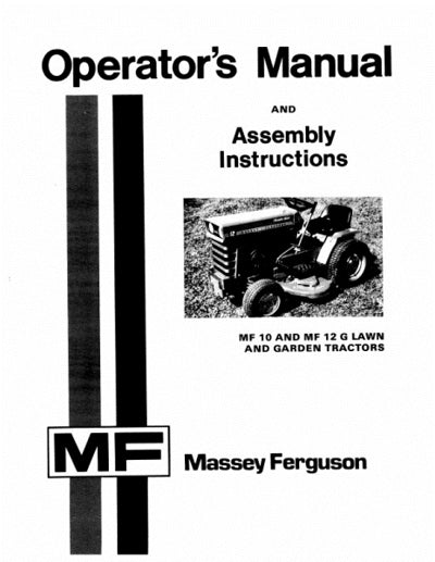 Massey Ferguson 10 and 12G Lawn Tractor Manual