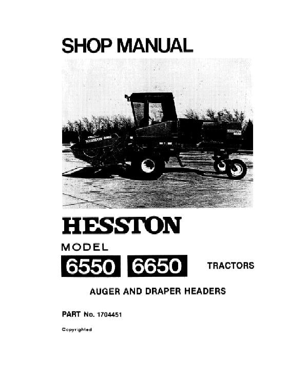 Hesston 6550 and 6650 Windrower - Service Manual