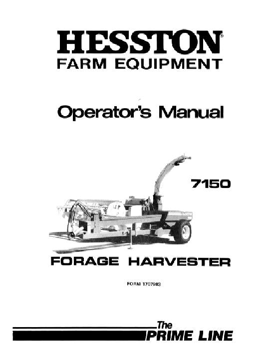 Hesston 7150 Forage Harvester Manual
