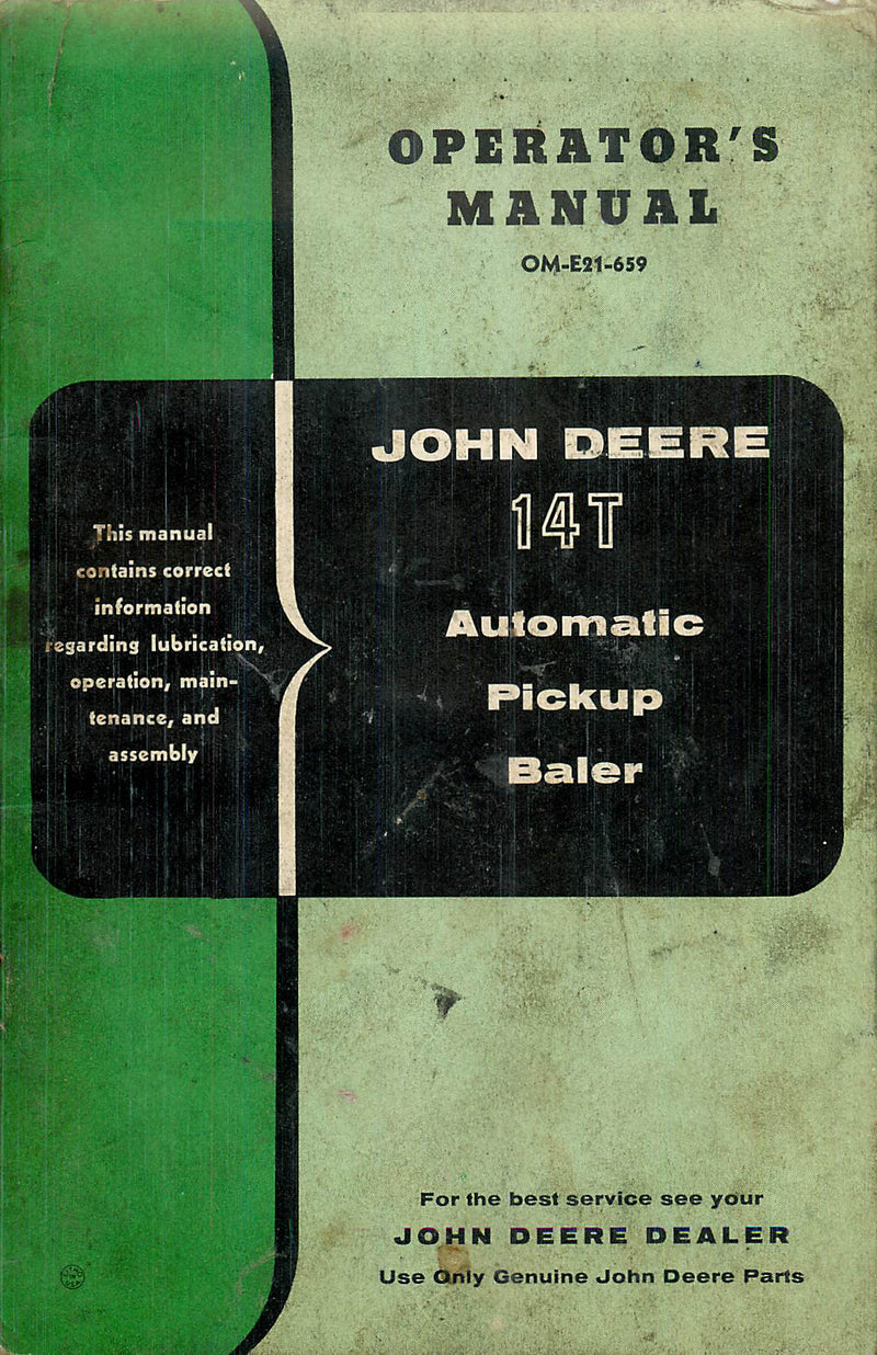 John Deere 14T Baler Manual