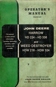 John Deere HD 224-HD 336 Harrow and Weed Destroyer HDW 216 - HDW 324 Operator's Manual and Parts List
