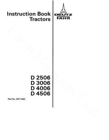 Deutz Fahr D2506, D3006, D4006, D4506 Tractor Manual