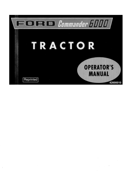 Ford 6000 Tractor Manual