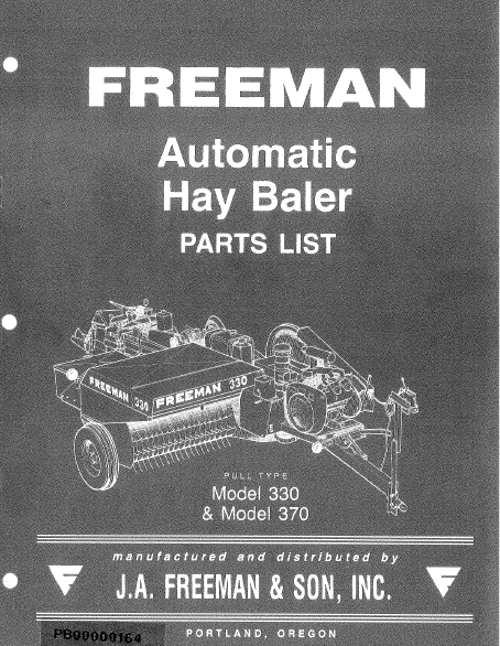 Freeman 330 and 370 Baler - Parts Catalog