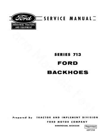 Ford 713 Backhoe - Service Manual