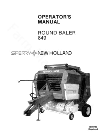 New Holland 849 Round Baler Manual