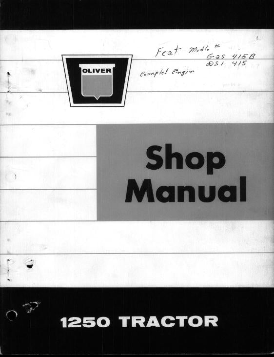 Oliver 1250 Tractor - Service Manual