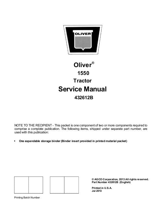 Oliver 1550  Gas and Diesel Tractor - Service Manual