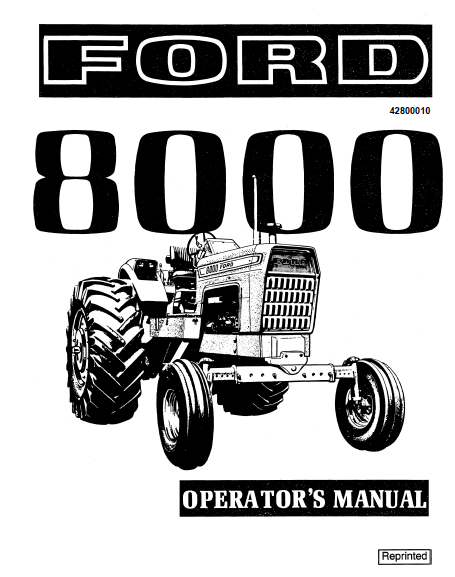Ford 8000 Tractor Manual