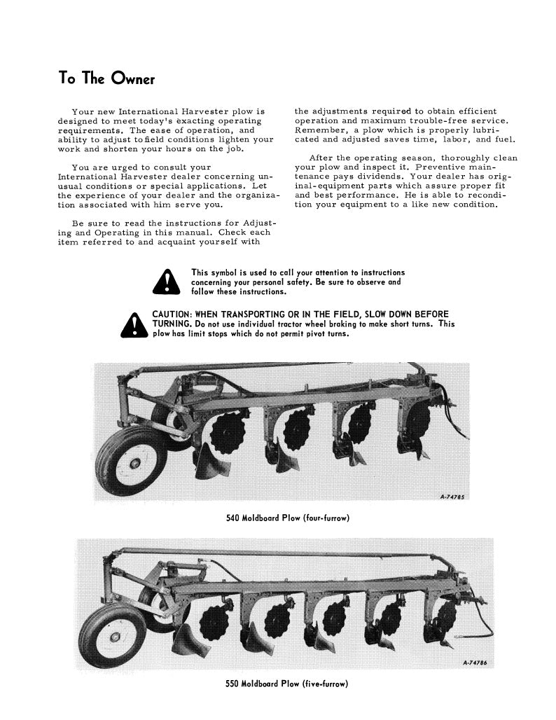International 540, 550, and 560 Moldboard Plow Manual