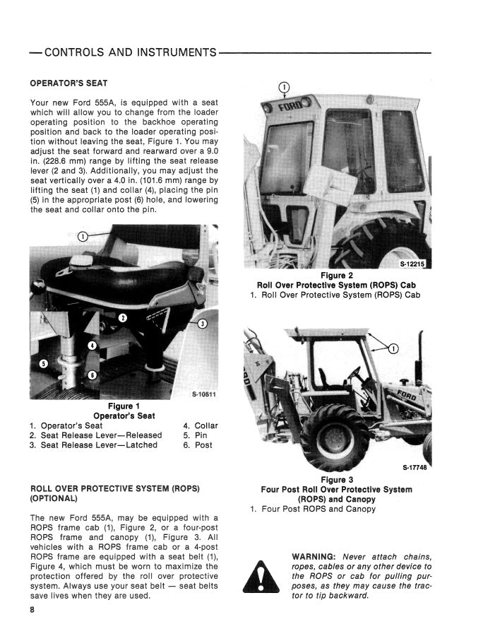 Additional pictures of the Ford 555A Tractor/Loader/Backhoe Manual.