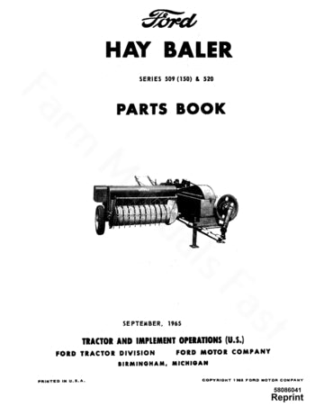 Ford 150, 509 and 520 Hay Baler - Parts Catalog