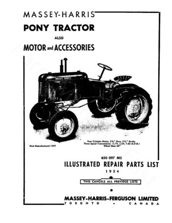 Massey-Harris 11 Pony Tractor - Parts Manual