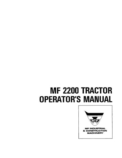 Massey Ferguson 2200 Industrial Tractor Manual